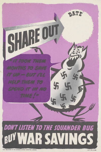 a depiction of the cartoon character the Squander Bug, pointing at the title of the poster. text: SHARE OUT DATE [partially blank text inset] 'IT TOOK THEM MONTHS TO SAVE IT UP - BUT I'LL HELP THEM TO SPEND IT IN NO TIME!' DON'T LISTEN TO THE SQUANDER BUG BUY WAR SAVINGS W.F.P. 304. ISSUED BY THE NATIONAL SAVINGS COMMITTEE, LONDON. F and C LTD. 51-3711.