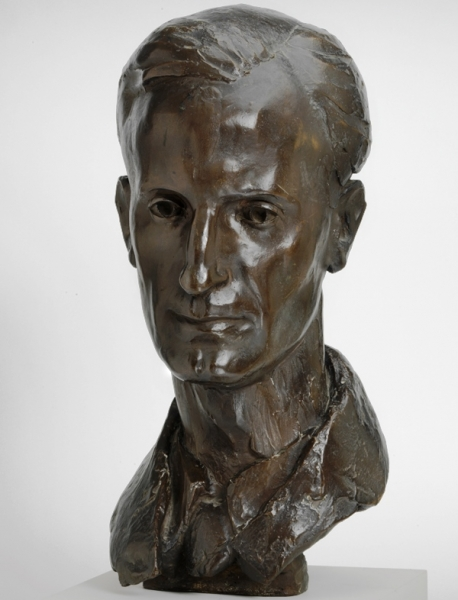 a bronze sculpture of the head of Lieutenant-Commander Robert S Armitage GC RNVR.