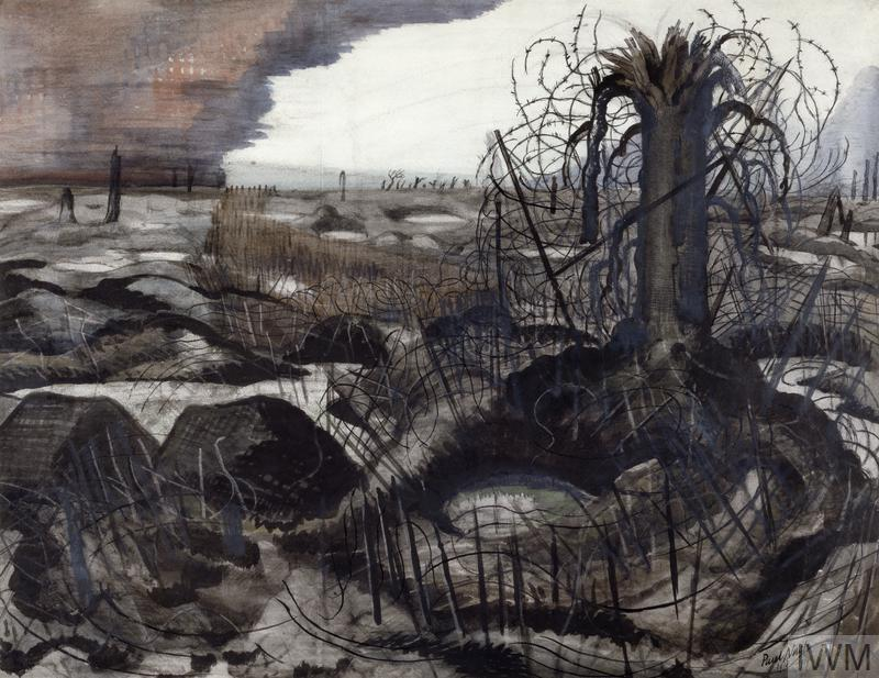 a devastated landscape, pocked with rain-filled shell-holes. A shattered tree stands to the right, the tree and the whole foreground dominated by a dense web of barbed wire. The sky is a dramatic contrast between white and purplish red coloured clouds.