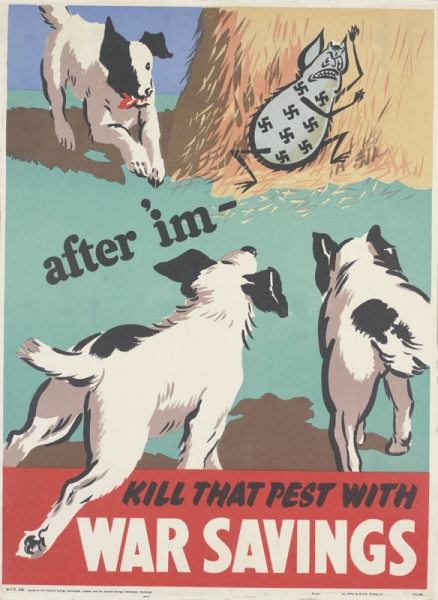 a depiction of the cartoon character the Squander Bug, cowering against a haystack as three terrier dogs run towards him. text: after 'im - KILL THAT PEST WITH WAR SAVINGS W.F.P. 318. Issued by the National Savings Committee, London, and the Scottish Savings Committee, Edinburgh. Printed for H.M. Stationery Office by G.C.M. Printing Service Ltd., Leicester. T51/3988.