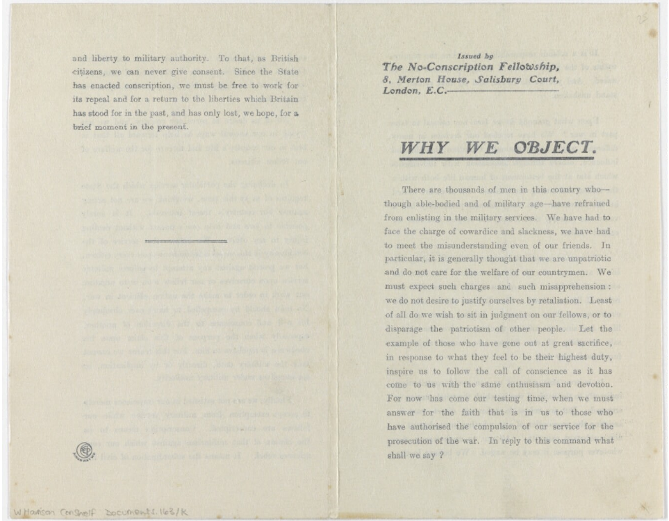 Printed leaflet issued by the No-Conscription Fellowship entitled 'Why We Object', from the Private Papers of W Harrison