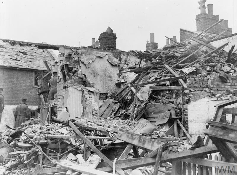 The remains of houses in Bentinck Street, King's Lynn, destroyed during the Zeppelin raid by Kapitanleutnant von Platen-Hallermund. 14-year old Percy Goate and 26-year old Alice Gazley died as a result of the raid, 19 January 1915.