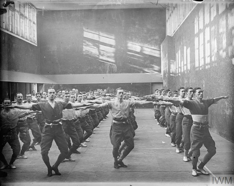 Young men from Cambridge University in a military gym class during the First World War.