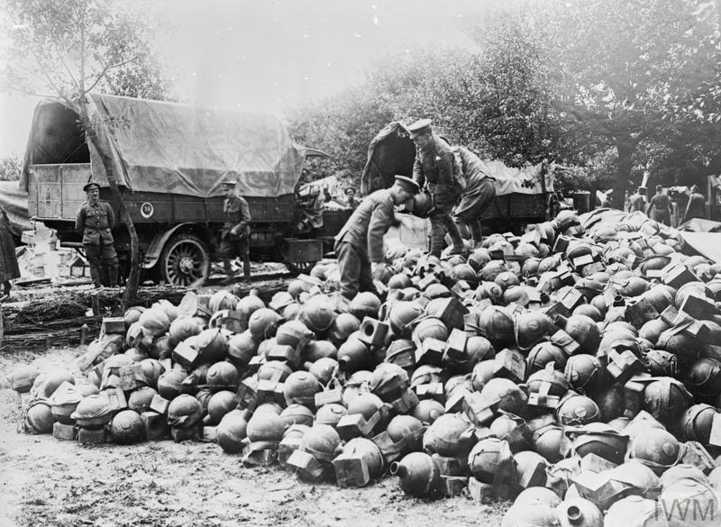 Trench mortar ammunition behind the lines. Acheux, 28th June 1916.