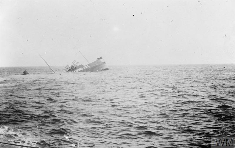 The American tanker ILLINOIS sinks after being attacked by a German submarine