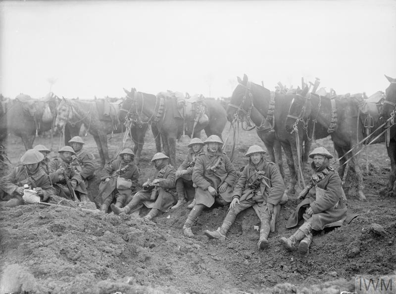 Battle of the Scarpe. British cavalry resting alongside the Arras-Cambrai road, April 1917.