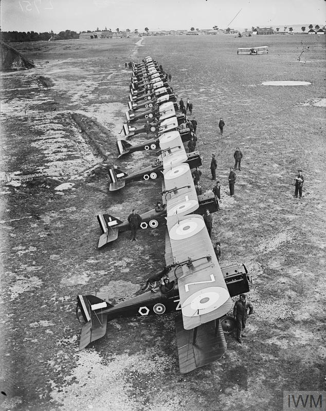 Royal Aircraft Factory S.E.5a aircraft of No. 85 Squadron at St Omer aerodrome, 21 June 1918. The serial numbers shown on the planes are from the front: C 1904, D 6851, C 1931, B 7870, C 1928, C 6486.