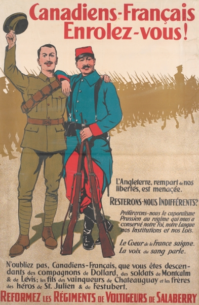 a Canadian infantryman and a French 'poilu' stand together. The Canadian soldier has his cap raised in is right hand and the French soldier holds their rifles. In the background a brown-silhouetted column of Canadian troops march left to right.