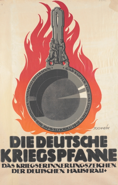 a metal cooking pan with text inscribed around the rim and bearing a motif of a German soldier shaking hands with a housewife. Flames rise from behind the pan.