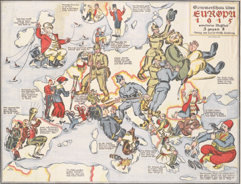 a map of Europe, with each country represented by a depiction of their soldiers or national personifications. Britain is represented by John Bull who uses money as bait to fish for allies. France is represented by a wounded Marianne, who is aided by a British soldier. Germany is represented by three soldiers, one of whom moves towards France, while the other two, aided by an Austro-Hungarian soldier, attack a Russian figure.