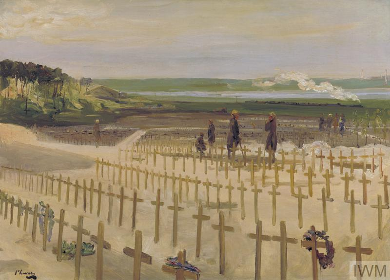 A view across the cemetery at Etaples showing the rows of simple crosses, tended by a group of women. In the background a steam train crosses a green landscape.
