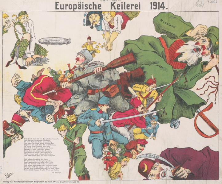 a map of Europe, with the boundary lines of each country containing caricatured portraits of soldiers of each nation. The Central Powers' soldiers are armed with bayonets, swords or spears and attack the cowering Entente Powers' soldiers.