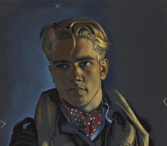 A half length portrait of Eriksen, wearing uniform, a life jacket and dotted red cravat.