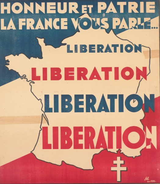 a map of France, set against a blue, white and red background of the French Tricolore. The Cross of Lorraine, symbol of the Free French, is placed in the lower right. text: HONNEUR ET PATRIE LA FRANCE VOUS PARLE... LIBERATION LIBERATION LIBERATION LIBERATION A l [?] des F.F.C. VISA DE CENSURE : No.13.