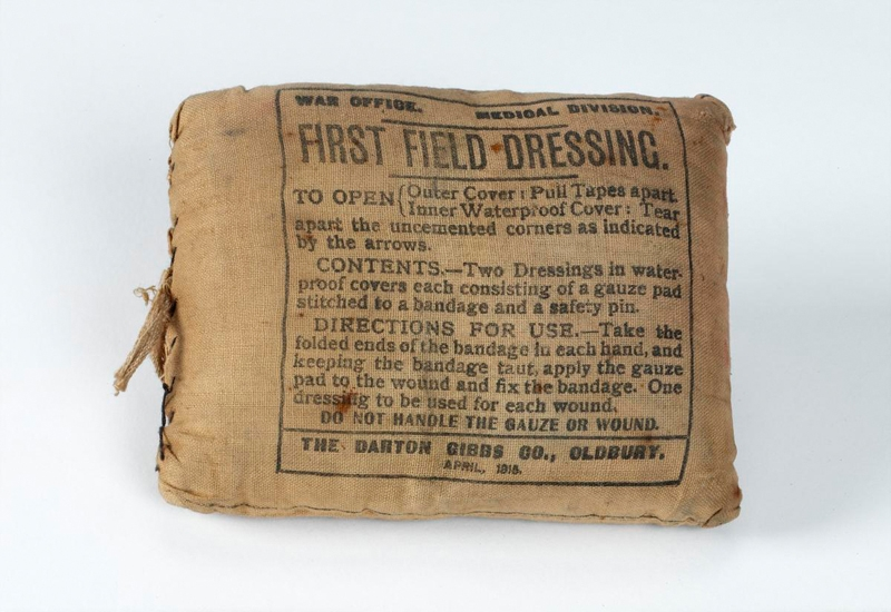 British first field dressing issued to all servicemen during the First World War. They were intended for use as soon after injury as possible, often applied by the wounded soldier himself.