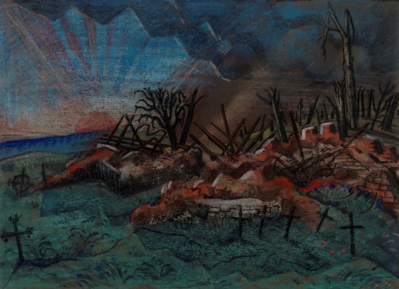 the ruins of a building that has been completely destroyed. There are a number of graves in the foreground marked by small wooden crosses in the ground. These reflect the burnt trees standing amongst the ruins, and more trees in the background. There is a large red sun setting over the hills in the left of the composition.
