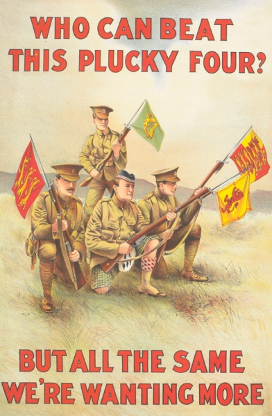 full-length depictions of four soldiers, one English, one Scottish, one Welsh, and one Irish. The Irish soldier stands behind the other three, who kneel on the ground. Each soldier carries a rifle, with a flag representing his country attached to the bayonet.