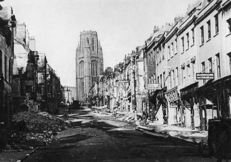 Bomb damage, Park Street, Bristol, 7 February 1941.