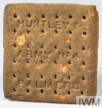 Army issue biscuit, circa First World period, made by Huntley and Palmers.