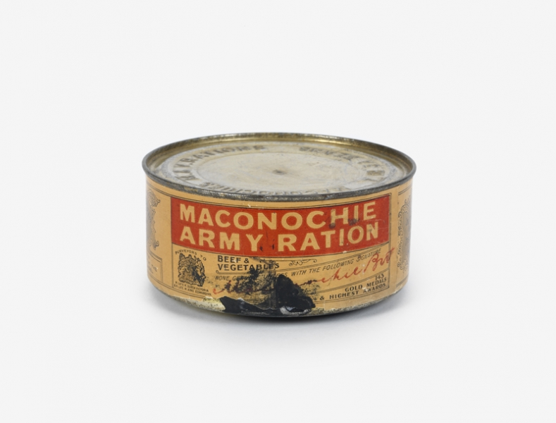 Empty tin of Maconochie's 'beef and vegetables' ration.