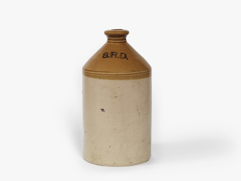 stoneware rum jar (H 34cm x W 18cm) marked with the initials 'SRD' in black.