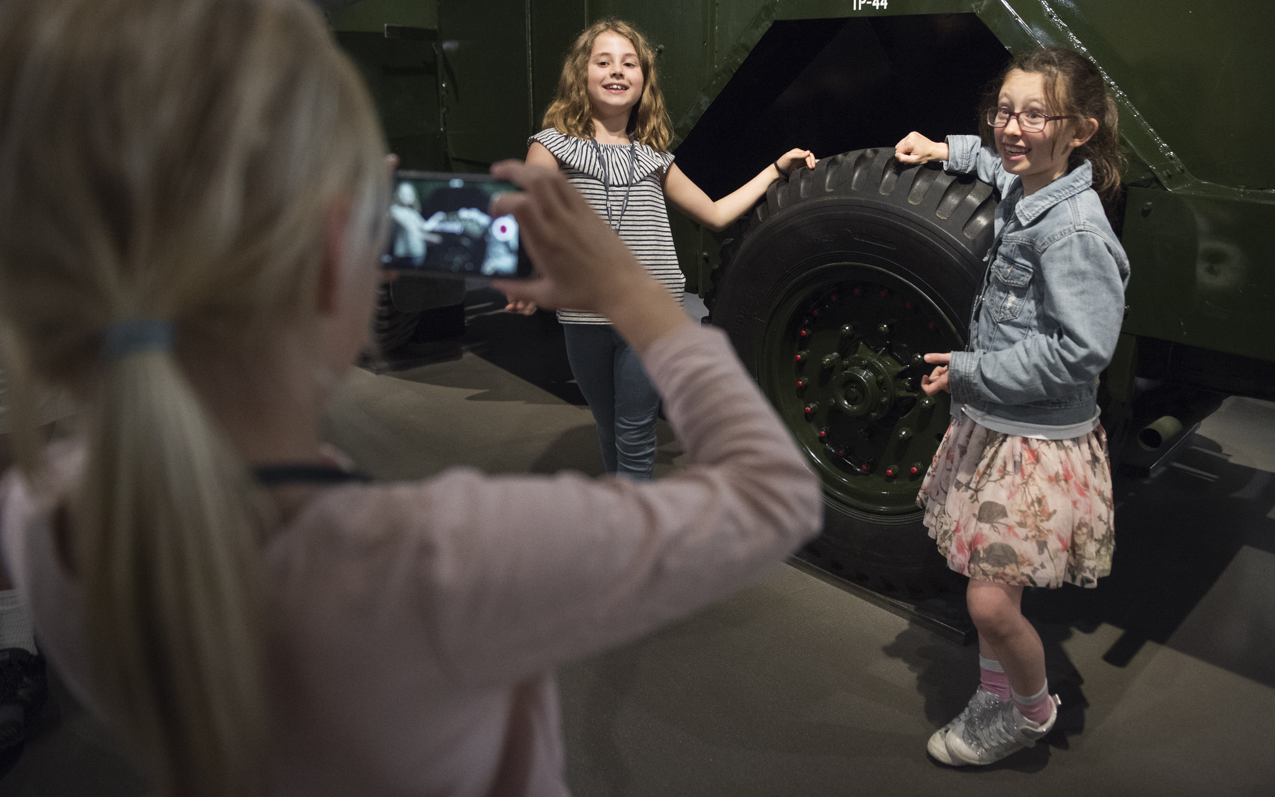 Children at IWM London taking part in the Documentary Challenge activity.