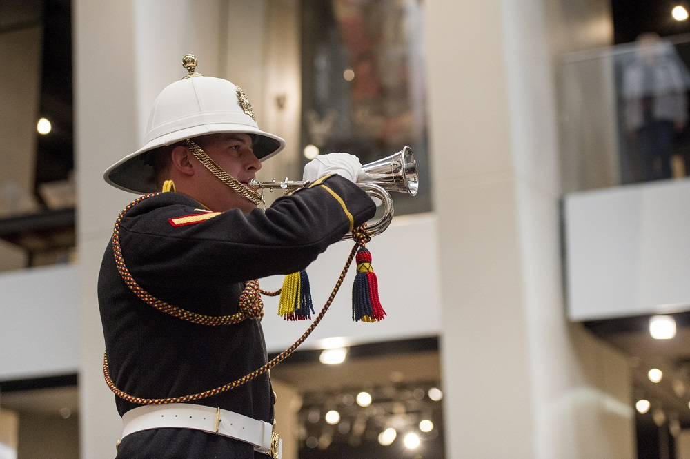 Bugal horn sounding for remembrance within IWM London