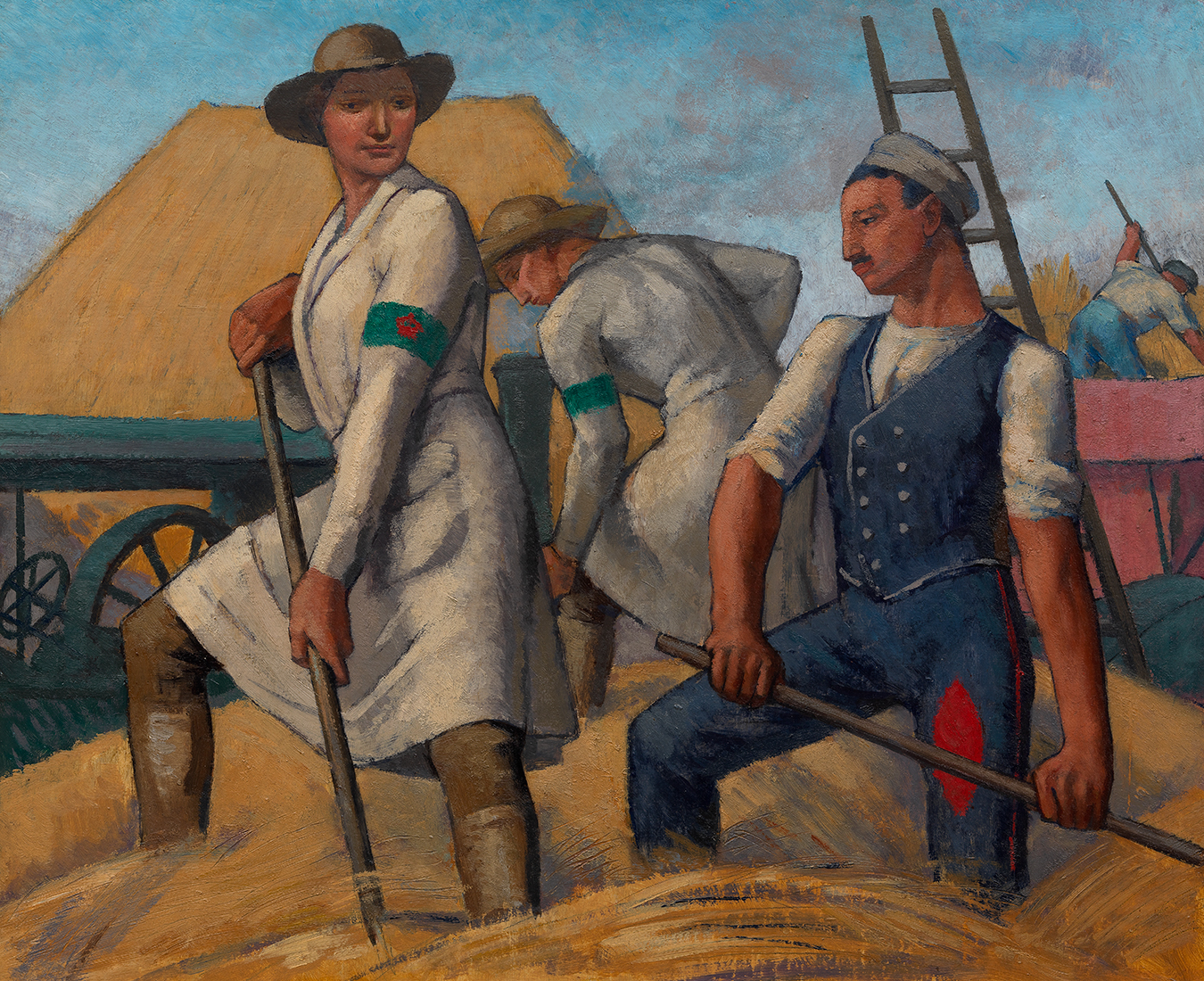 Randolph Schwabe's painting of The Women's Land Army and German Prisoners. Women working in hay fields.