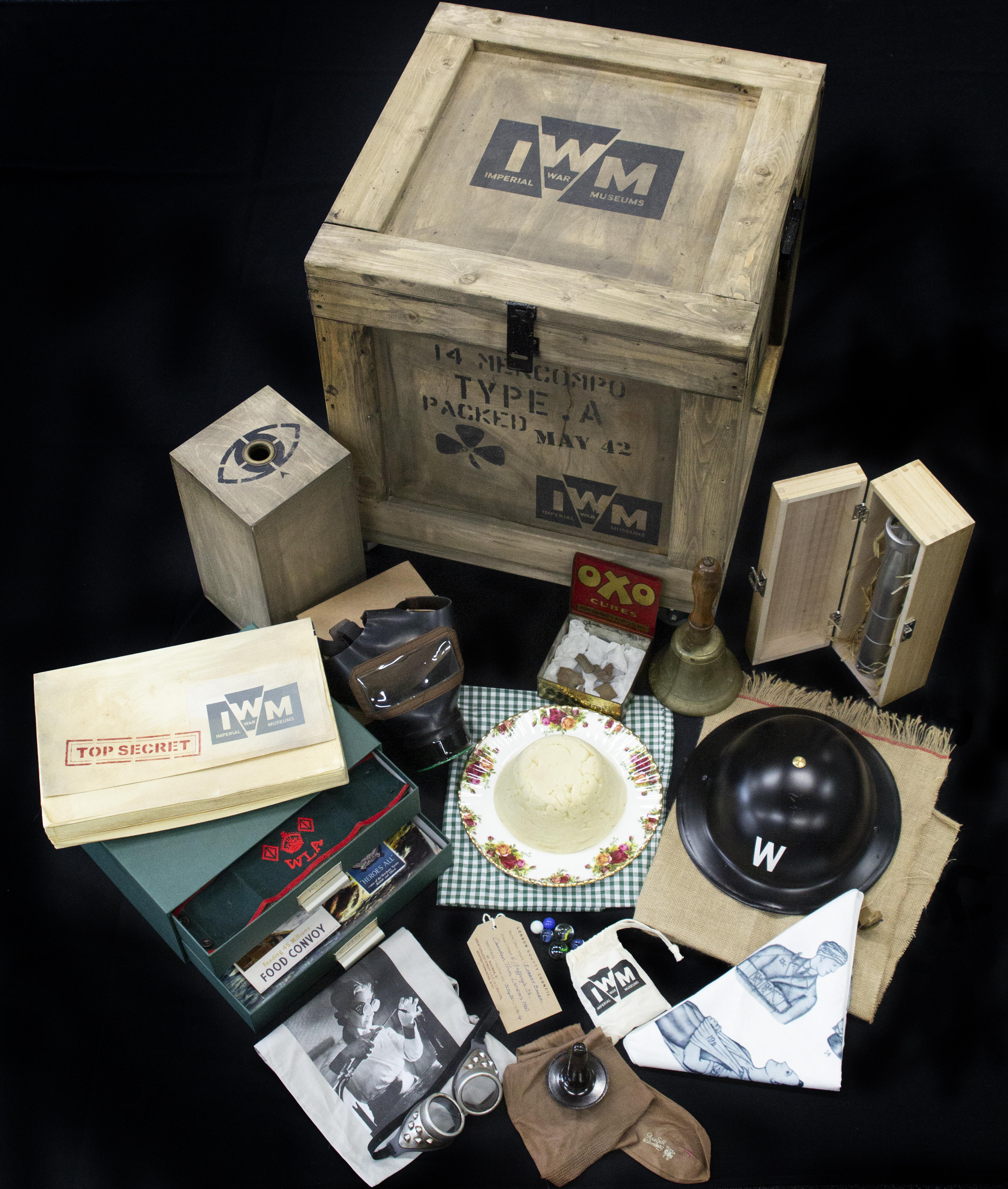 Second World War Loan Box featuring items found in the box