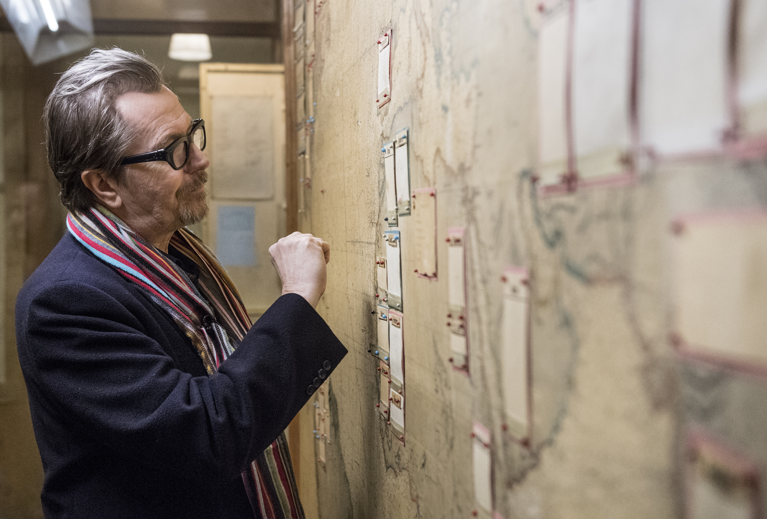 Actor Gary Oldman visits Churchill War Rooms during promotion for his film Darkest Hour