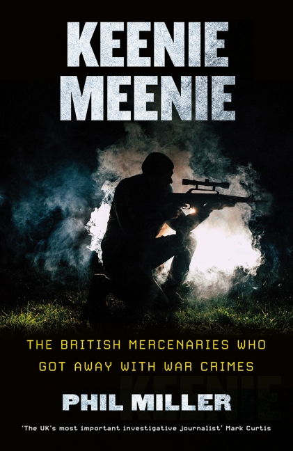 Book cover of Keenie Meenie by Phil Miller. A silhouetted figure with a rifle and telescopic sight. Imperial War Museums meet the author event.