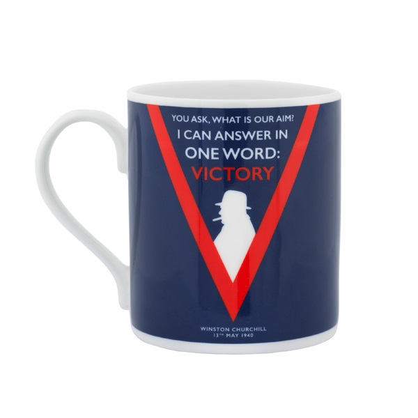 Mug from IWM Shop featuring Churchill quote 'You ask, what is our aim? I can answer in one word: Victory'