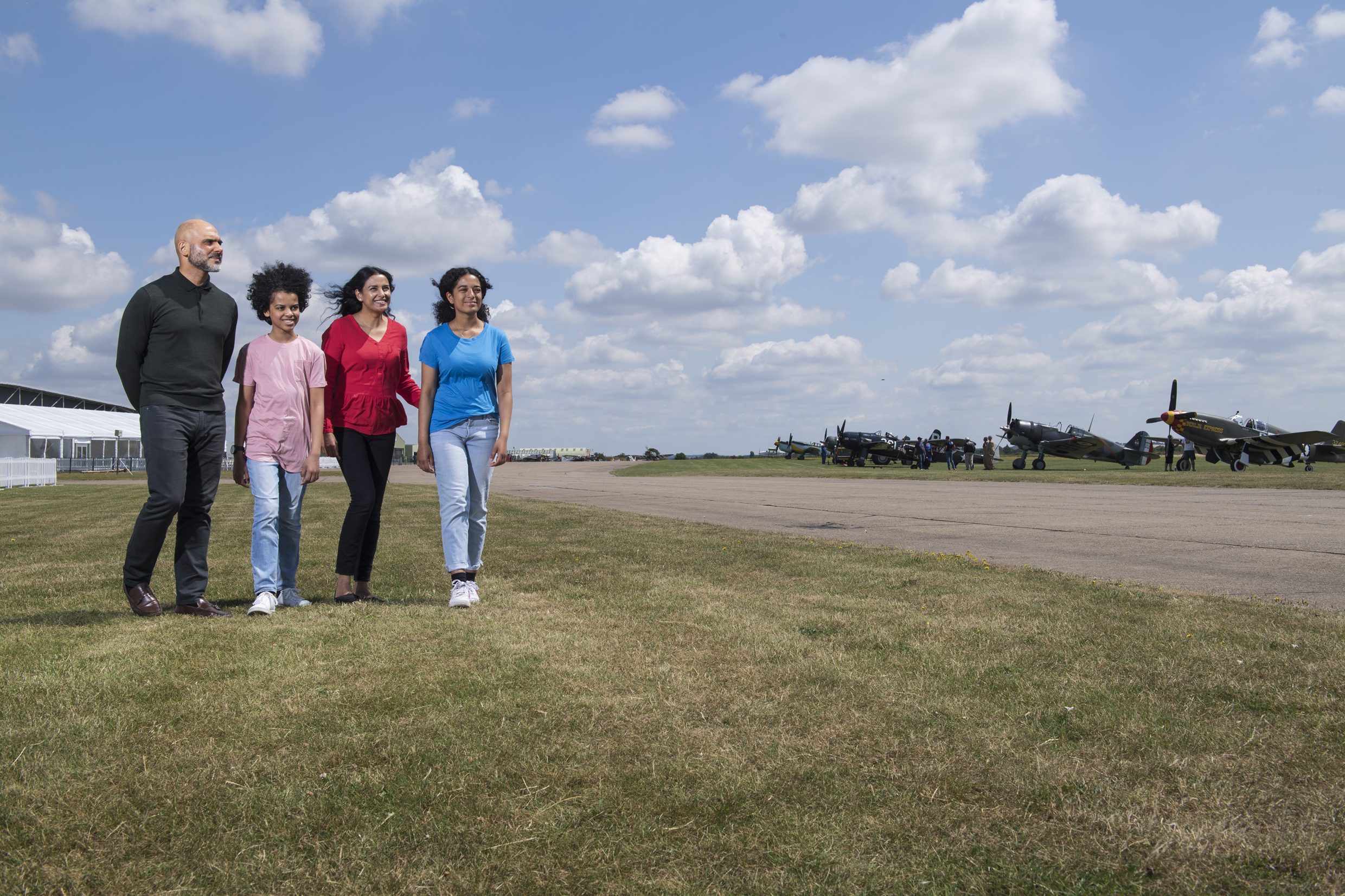 Family outside at IWM Duxford