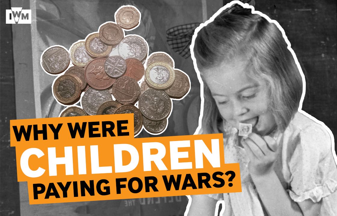 Video thumbnail showing: A child licking a national savings stamp with pound coins behind her and text reading 'why were children paying for wars'.