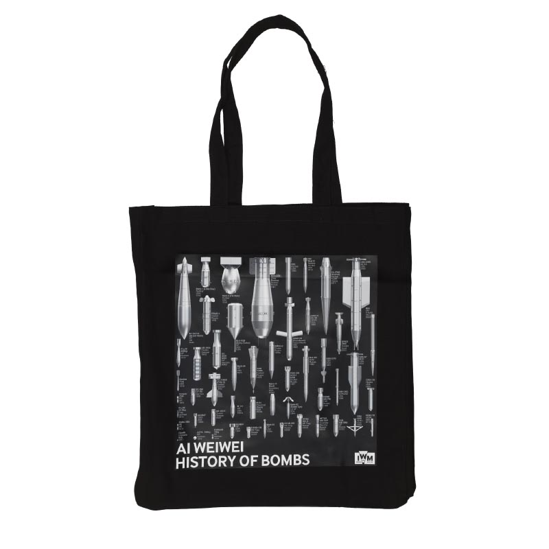 Black tote bag featuring History of Bombs, an artwork by Ai Weiwei featured at IWM London