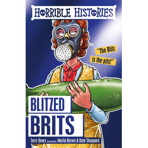 Book cover showing a woman wearing a gas mask holding a bomb. The title says Blitzed Brits