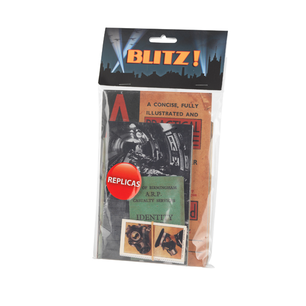 Blitz replica pack containing an ARP Booklet, body tag, Air Raid warden's letter, anti gas alarm card and more.