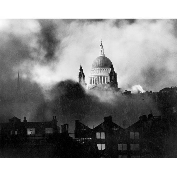 St Paul's Cathedral surrounded by smoke from Blitz bombing.
