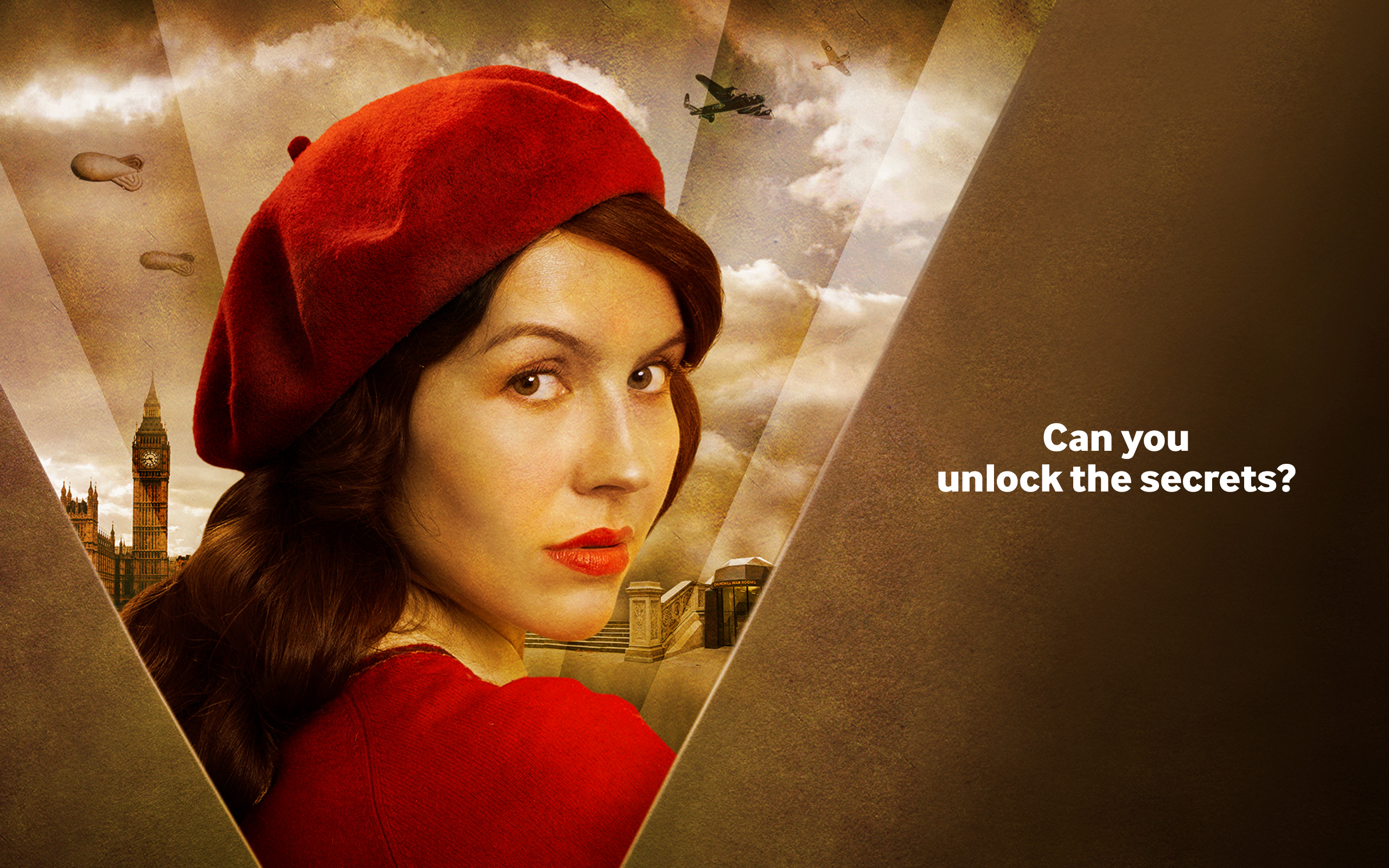 A woman in red looking over her shoulder in front of a sepia second world war collage background.