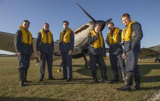 Duxford Battle of Britain Air Show 2019 - Spirit of Britain stand in front of aircraft, Saturday 21 September