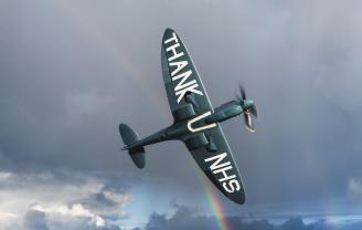 NHS Spitfire in the sky