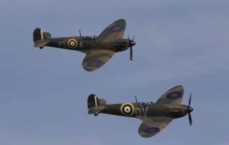 Two Spitfires in formation
