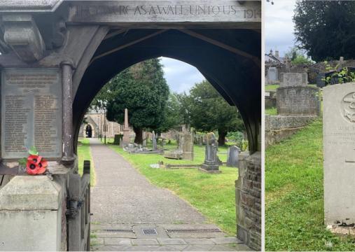 Left: St Basil's Church, Bassaleg, Newport. Right: Headstone of William Jenkins. Image: Ziyan Wang.