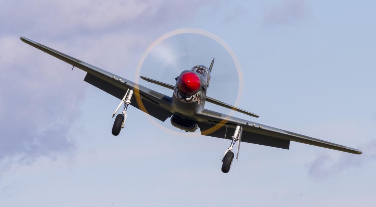 P-51 Mustang landing towards the camera