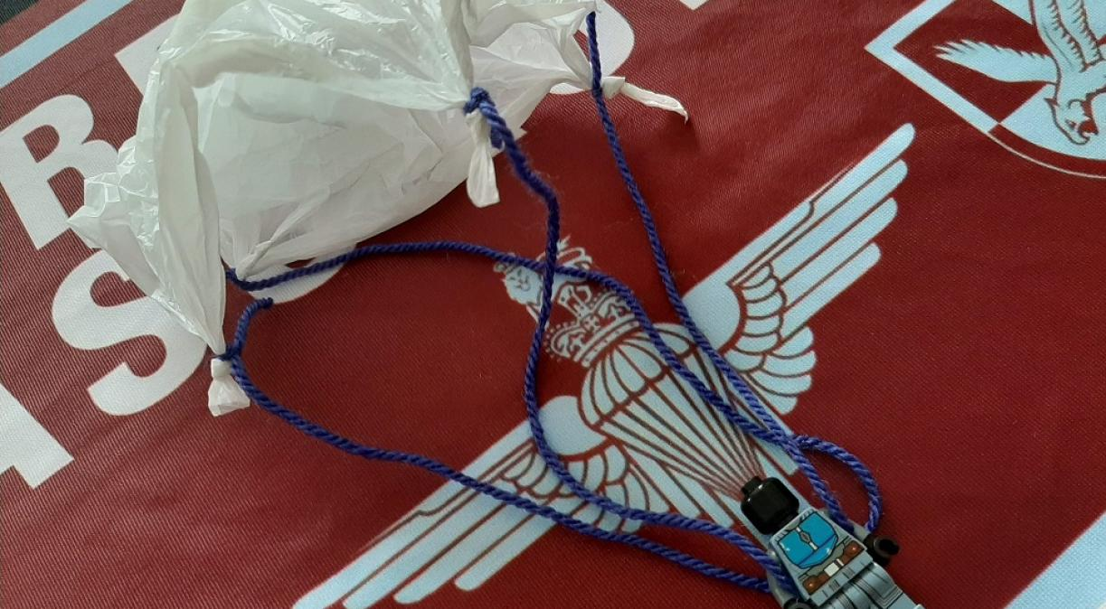 Make your own Parachute laying on the flag of the the Airborne Forces
