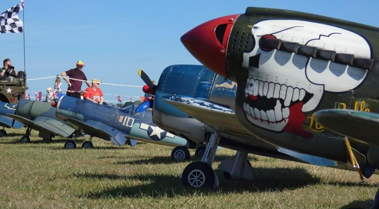 Line up of RC warbirds