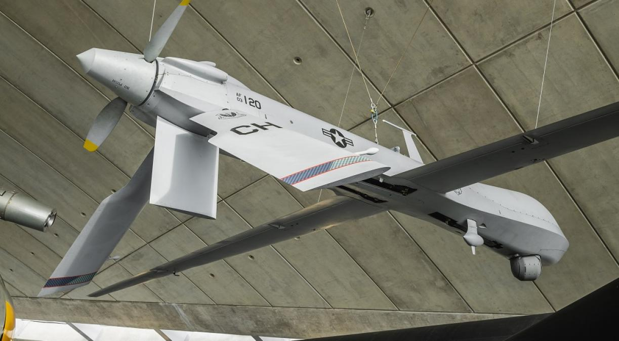 Predator UAV hanging from the room of the American Air Museum