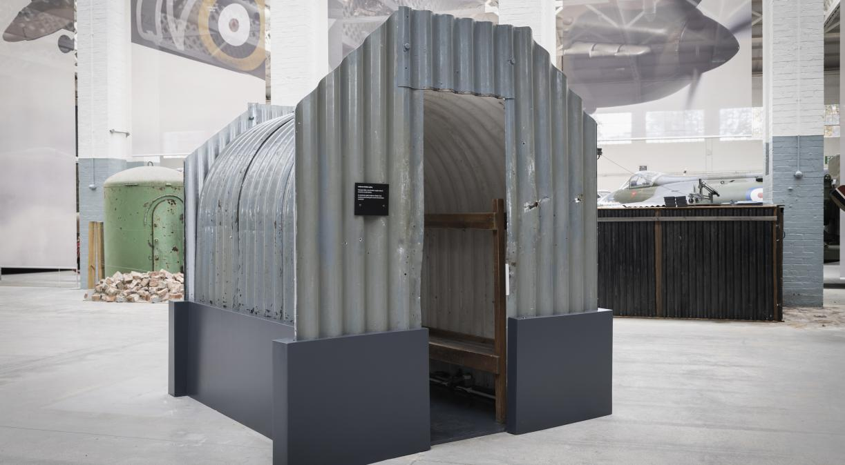 Anderson shelter in Battle of Britain exhibition at IWM Duxford