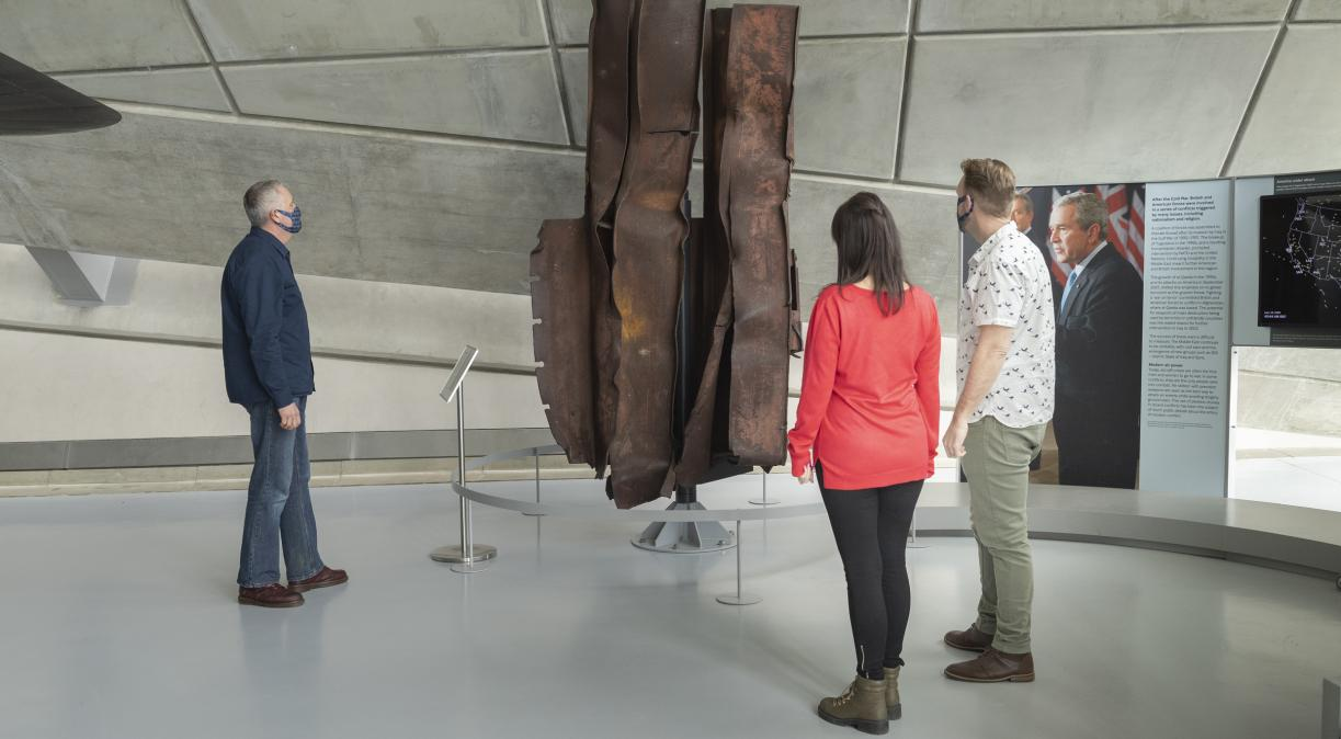 A piece of steelwork from the World Trade Center on display at the American Air Museum, IWM Duxford