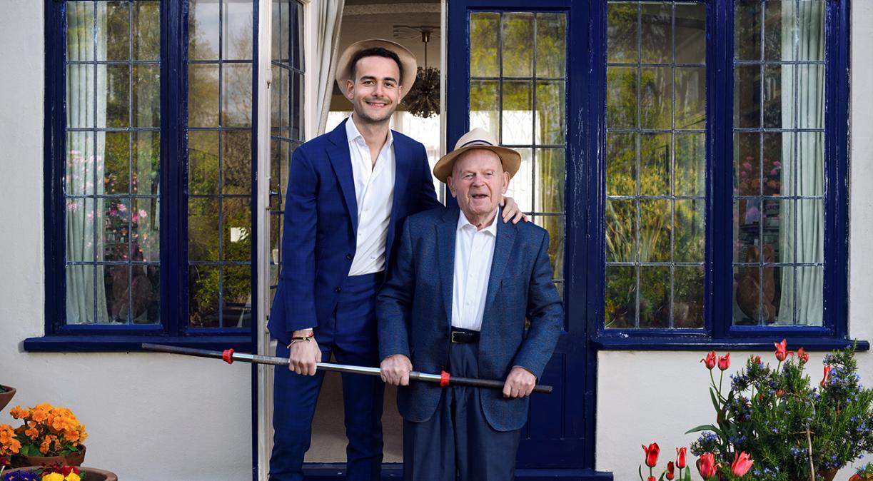 Sir Ben Helfgott MBE with his grandson Sam